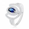 Gyűrű 925 ezüstből, csillogó tulipán körvonal kék cirkóniás szemecskével