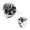 Acél gyűrű, Fleur de Lis oválisban, ezüst szín, patinált