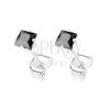 925 ezüst fülbevaló, csillogó négyzet alakú fekete cirkónia, 3 mm