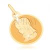375 arany medál - kerek, lapos tábla, Szűz Mária
