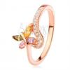 925 ezüst gyűrű, réz árnyalat, többszínű cirkóniás lepke