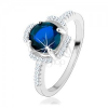 925 ezüst eljegyzési gyűrű, kék virág, átltászó cirkóniákból álló szirmok