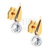 Kétszínű 375 arany fülbevaló - csillogó csepp, átlátszó cirkónia a foglalatban