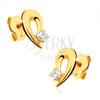 Fülbevaló 9K sárga aranyból - könnycsepp körvonal átlátszó kővel díszítve
