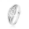 Csillogó gyűrű 925 ezüstből, nagy kerek cirkónia, gazdagon díszített szárak
