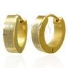 Fényes kerek acél fülbevaló - arany árnyalat, ezüst színű sáv csillagokkal
