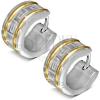 Kerek fülbevaló sebészeti acélból, két vonal arany színben, görög kulcs