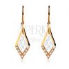 375 arany kétszínű fülbevaló horgokon, rombuszok hálóval, cirkóniák