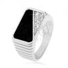 Gyűrű 925 ezüstből, függőleges bemetszések, téglalap - fekete fénymáz, átlátszó cirkóniák