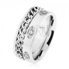 Acél gyűrű, lánc, ezüst szín, matt felület, minták