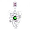 Medál, 925 ezüst, zöld kerek cirkónia, aszimmetrikus virág kontúr