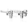 Fényes fülbevaló 316L acélból, ezüst színű, pisztoly, átlátszó cirkónia, stekker