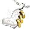 Acél szív medál - Lucky Love felirat, három arany karika