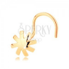 14K sárga arany orr piercing - kidombordó virág, fényes és sima felülettel