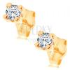 Fülbevaló 14K sárga aranyból - átlátszó kerek cirkónia szögletes foglalatban, 3 mm