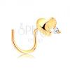 585 arany piercing, hajlított - fényes kidomborodó szív, átlátszó cirkónia
