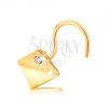 14K sárga arany orrpiercing - boltíves négyzet átlátszó cirkóniával
