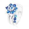Csillogó gyűrű osztott szárakkal, cirkóniás virág kék árnyalatban