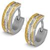 Kerek fülbevaló 316L acélból - csillogó felszín arany és ezüst árnyalatban