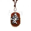 Műbőr nyakék, medál - barna ovális medál karikákkal és kínai jellel