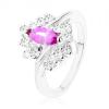 Gyűrű ezüst árnyalatban ametiszt lila színű szemmel, átlátszó cirkóniák
