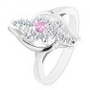 Ezüst színű gyűrű, átlátszó cirkóniás sáv, rózsaszín cirkóniával középen