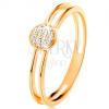 585 arany gyűrű, vékony kettős szár, karika átlátszó cirkóniákkal