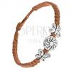 Karkötő barna zsinórokból, kerek fémtáblák virággal, lepkék