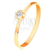 Gyűrű 14K sárga aranyból - átlátszó gyémánt kiálló kerek foglalatban