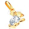 585 arany medál - fényes nyuszi áttetsző cirkóniával kirakott testel