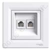 SCHNEIDER ASFORA 2xRJ11 telefon aljzat, fehér