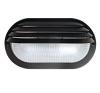 GAO 6930H Műanyag ovális lámpa fél ráccsal E27 max.:60W, fekete 230V~ 50Hz , 205x107x100mm, két ponton rögzíthető (furat táv. 140mm), IP44 kültéri világítás