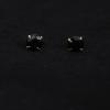 JewelOra Sterling ezüst fekete köves bedugós fülbevaló 5mm