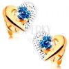 585 arany fülbevaló - kétszínű szív körvonal, gravírozott, kék zafír