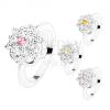 Csillogó gyűrű fényes szárakkal, csiszolt, színes cirkóniák, virág körvonal