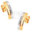585 arany fülbevaló - két összekapcsolt ív sárga és fehér aranyból, átlátszó cirkóniák