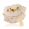 Ékszerdoboz - trapéz lekerekített oldallal, virág minta, csipke és tükör
