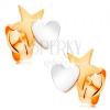 Kétszínű 14K arany fülbevaló - csillag szívvel összekapcsolva, stekkerek