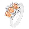 Gyűrű ezüst színben, narancssárga oválisok és kerek, átlátszó cirkóniák