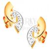 Fülbevaló 14K aranyból - kétszínű ívek és kerek, átlátszó cirkónia középen