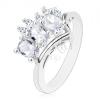 Csillogó gyűrű ezüst színben, három ovális, átlátszó cirkónia, öt kis, átlátszó cirkónia