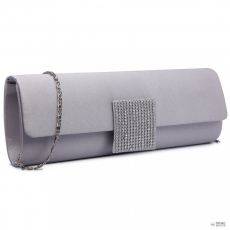 Miss Lulu London LY6681-női Satin Envelope Táska Clutch táska for estélyi Party Bridal Wedding val Detachable Lánc szíj ezüst
