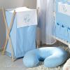 Prémium hímzett szennyes tároló - Alvó maci kék