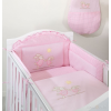 Babaágynemű garnitúra 3 részes hímzett huzat - Nyuszik rózsaszín