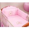 Babaágynemű garnitúra 3 részes hímzett huzat - Szíves maci rózsaszín