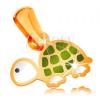 14K arany medál, kis zöld-fehér teknős fekete szemmel, fényes fénymáz