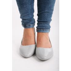 Impresszió Szürke lakk balerina cipő