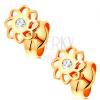 585 arany fülbevaló - fényes kivágott virág, cirkóniával a közepén