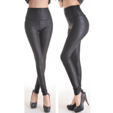 Fekete faux műbőr leggings