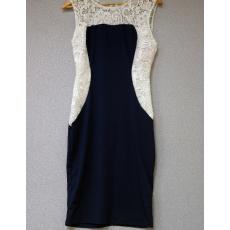 Sötétkék-fehér csipkés ruha- Egy méret